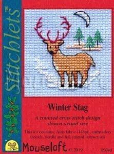 Mouseloft Winter Stag Card Christmas Stitchlets cross stitch kit